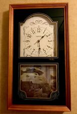Ingraham Wall Clock With Bass Lake Lodge Framed Picture Art Man Cave Fishing