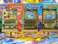 Pokémon Metall Gold Custom Card Charizard Blastoise Venusaur 1st Pokemon Holo /