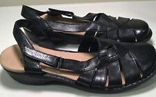 CLARKS BENDABLES  Close Toe Sandals Women's Black Leather Casual Shoes Size 10N