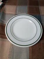 "Pyrex Tableware 703 Vintage Milk Glass 9"" Dinner Plate Green Stripes by Corning"