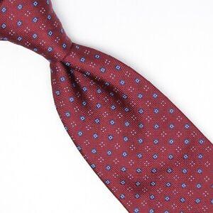 Josiah France Mens Silk Necktie Burgundy Light Blue Check Dot Weave Woven Tie
