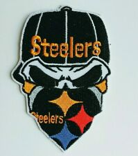 "Pittsburgh Steelers Embroidered Skull 3 3/4"" Iron On Patch"