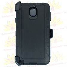 For Samsung Galaxy Note 3 Black Defender Case (Belt Clip Fits Otterbox)