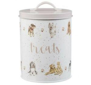 Wrendale Designs Dog Print Treats Tin, Biscuit, Food Treat Storage Tin & Lid