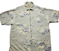 Tommy Bahama Mens 100% Silk Hawaiian Floral Short Sleeve Camp Shirt Size Medium