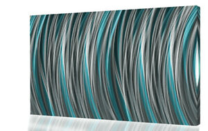 Grey Duck Egg Blue Stripes Modern Abstract Canvas Wall Art Picture Print