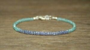 Natural Blue Topaz & Apatite Faceted Gemstone Beaded Bracelet 925 Silver Clasp