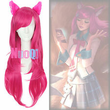 USA Ship LOL Academy Ahri the Nine-Tailed Fox Long Wavy Rose Red Cosplay Wig