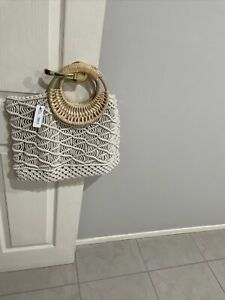 Sussan Crochet Look Bag With Cane Handles NWT