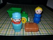 Vintage Fisher Price little people light blue circus train conductor Suitcase