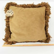 The Original Mary Jean Collection Brown Faux Leather Suede Feather Pillow New