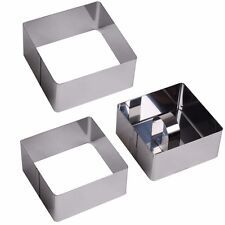 3x STAINLESS STEEL FOOD PRESENTATION MOULDS Rosti Shaper Square Shaper Rings