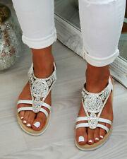 da64bb2af New Womens Flatform Sandals Embellished Slingback Comfy Holiday Shoes Sizes  3-8