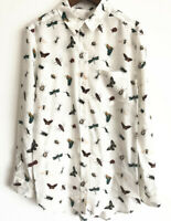 Equipment Brett Silk Insect Placement Print Shirt