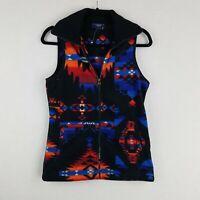 Chaps Sport Womens Xs Extra Small Aztec Southwestern Print Fleece Vest Full Zip
