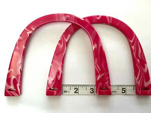 Pair (2) U Shaped Bag Handles for Knitting or Sewing (Marbled Pink)