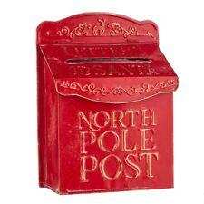 "Raz Imports North Pole Post 13.75"" Red Metal Mail Box"
