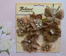 BURLAP Textured NATURAL Combo 6 flower & 1 Butterfly Mixture 20-55mm Petaloo L