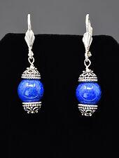 AA+ Lapis Lazuli, Bali Silver Bead Caps W/Vintage Decorative Leverback Earrings