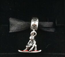 NEW Authentic Pandora Silver Snowboarder Red Enamel Dangle Charm 791366EN09