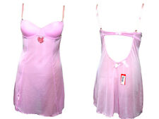 YAMAMAY Ladies New Gift Idea Baby Doll Sexy Pink Lingerie Nightwear Dress sz M
