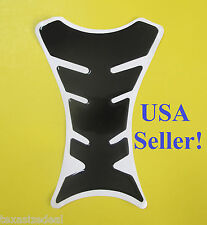 Glossy Black 3D Gel Motorcycle Fuel Tank Protector Pad Universal Fit - See Size