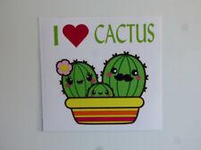 "I HEART CACTUS Cute Family Bumper Sticker Window Decal NEW 4""x4"" UV Resistant"