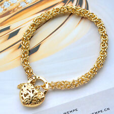"""9K Yellow Gold GF Bracelet All Use Hand-Made Chain With Heart Locket """"Stamp 9K"""""""
