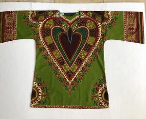 Bou Boudima Exotic Designs Dashiki Tunic Top sz M, Flared Angel sleeves Multi