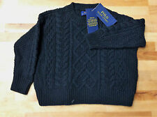 $65.00 Ralph Lauren Little Girls Cable-Knit Sweater Polo Black, Size 5