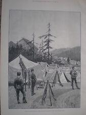 Ejército de Rusia avance Guardia infantería rusa de la línea en Camp 1888 antiguos impresión