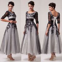 LONG Women's Vintage LACE 1950s Gowns Party Formal Bridal Prom Evening Dress UK