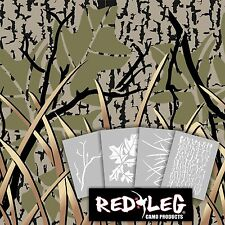 Redleg Camo 912KIT 4 piece stencil kit camouflage airbrush grass branch bark