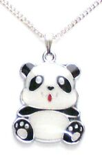 CuTe BLaCK WHiTe PaNDa BeAR NeCKLaCe WiLDLiFe ANiMaL iN GiFT PoUcH/BaG