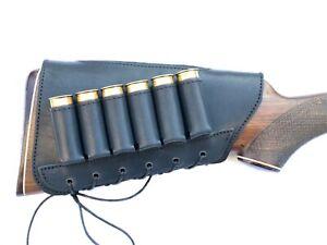Real Leather Buttstock Shotgun Shells Holder Cheek Rest Hunting Left Right
