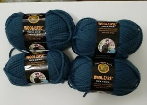 Lion Brand 4 Wool Ease Thick and Quick Yarn 6oz Skeins 114 DENIM Same Dye Lot