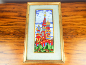 Vintage Russian Enamel Art Framed Moscow St Basils Cathedral Onion Domes Signed