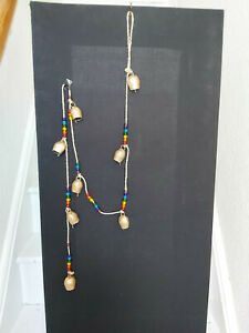 VERY LONG HANDMADE INDIAN IRON COW BELL STRING WITH CHAKRA BEADS ON JUTE STRING