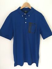 NWOT $165 AG Adriano Goldschmied Green Label Mens XL Polo Shirt Zip Pocket Blue