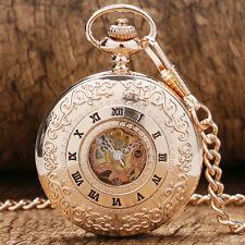 Rose Golden Hollow Roman Number Skeleton Hand Wind Mechanical Pocket Watch Gift