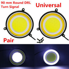 2PCS Car Accessories LED Daylight 90mm Round DRL White Turn Signal Light Lamp