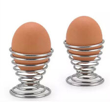 2pcs Metal Egg Cup Spiral Kitchen Breakfast Hard Boiled Spring Holder Egg Cup