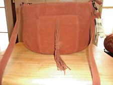 New Lucky Brand Carmen  Suede Leather Cross Body Bag Tassle Front Tobacco $138