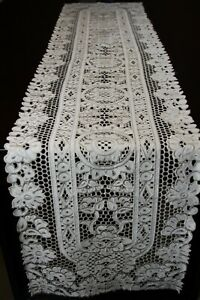 Solid White Embroidered Lace Cutwork Placemat Table Runner Wedding Party Banquet