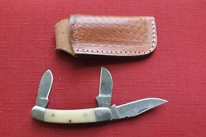HAND MADE DAMASCUS THREE BLADE FOLDING POCKET KNIFE - WHITE BONE, CUSTOM SHEATH