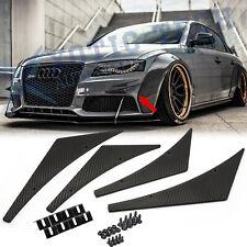 4x JDM Carbon Fiber Sporty Racing Diffuser Bumper Lip Fins Body Canards Splitter