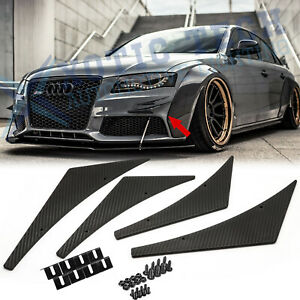 4x JDM Carbon Fiber Sporty Racing Diffuser Bumper Lip Fins Body Canards Splitter