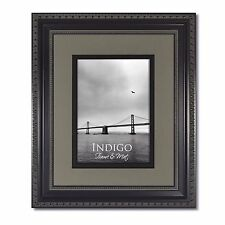 One - 11x14 Ornate Black Photo Frame, Glass & Slate Gray/Black Mat for 8x10