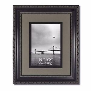 Set of 2 - 5x7 Ornate Black Photo Frames, Glass & Slate Gray/Black Mat for 3.5x5
