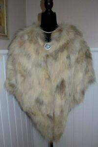 Genuine Golden Island Fox Fur Stole Wrap Coat